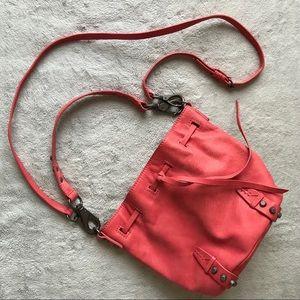 She + Lo Aim High Pink Mini Leather Bucket Bag